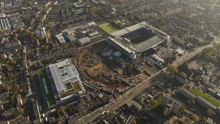 An aerial view of building works for the new Spurs stadium at White Hart Lane from 2015.