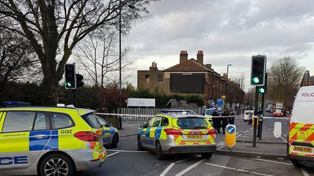 Police have cordoned off the crime scene in Seven Sisters Road