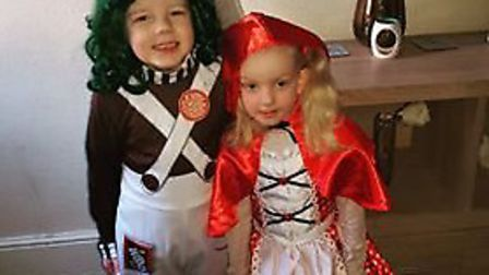 Dylan Smith and Seryn-Rose Smith, who went to Roman Hill Primary School dressed up as an Oompa Loomp