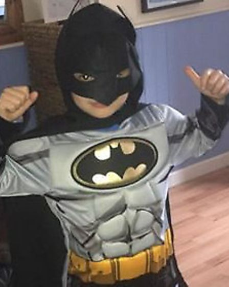 Seven-year-old Rhys as Batman for World Book Day. Picture: Emma Jones
