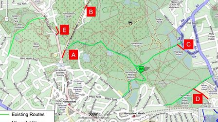 Camden Cyclists is calling for cycle paths on the Heath to be extended. Picture: JOHN CHAMBERLAIN