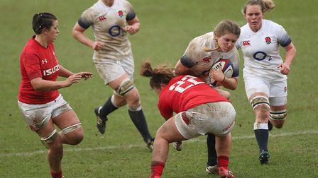 England's Poppy Cleall and Wales' Lleucu George during the NatWest Women's 6 Nations match at Twicke