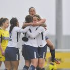 Ryah Vyse is congratulated by her Tottenham Hotspur Ladies team-mates after scoring against Oxford U