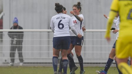 Coral-Jade Haines celebrates with her Tottenham Hotspur Ladies team-mates after equalising against O