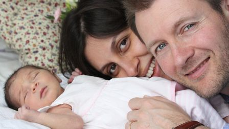Nazanin Zaghari-Ratcliffe, husband Richard Ratcliffe and newborn baby Gabriella in West Hampstead. P