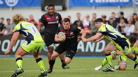 Ben Spencer scored two tries for Saracens in a 41-13 win at home to Sale Sharks in the Avivia Premie