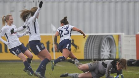 Coral-Jade Haines runs off to celebrate after equalising for Tottenham Hotspur Ladies against Oxford