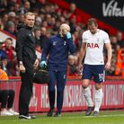 Tottenham Hotspur's Harry Kane leaves the pitch injured during the Premier League match at AFC Bourn