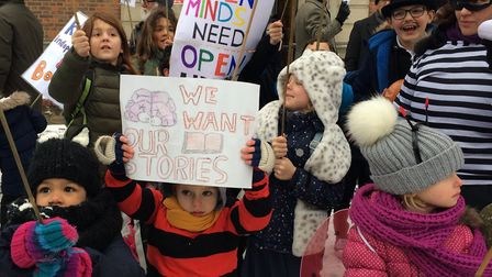 East Finchley Library protest on World Book Day. Picture: JON KING