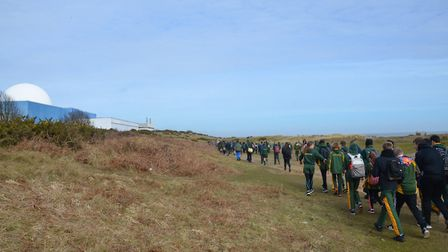 The pupils walk towards Sizewell B. Picture: EDF ENERGY