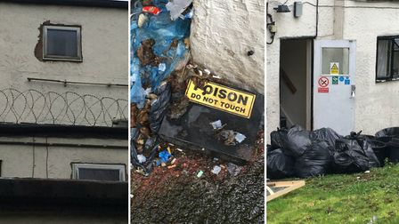 Barbed wire, a box marked 'poison do not touch' and binbags piled up near to a fire escape at a home