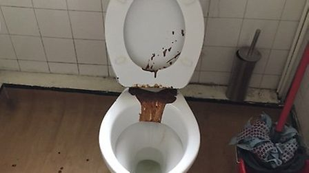 A dirty toilet at the Brownswood Hostel
