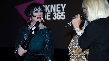 Lavinia Co-op in conversation with John Sizzle at the Hackney Pride 365 event at the Town Hall. Pict