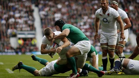 England's Richard Wigglesworth has a try disallowed during the World Cup warm-up match against Irela