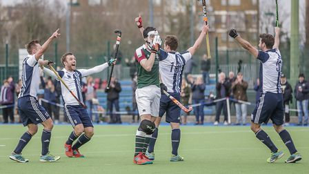 Hampstead & Westminster celebrate a goal against Surbiton (pic Mark Clews)