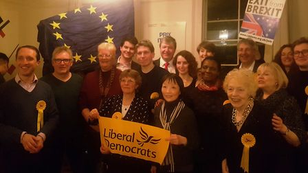 Liberal Democrat candidates with Alastair Carmichael MP at their campaign launch in Belsize Park. Pi