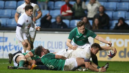 England Under-20s Ben Earl scores his side's seventh ttry against Ireland during the Natwest Under-2
