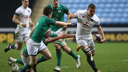 England Under-20s Ben Earl is tackled by Ireland Under-20s Hugh O'Sullivan (pic Nigel French/PA)