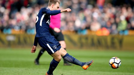 Tottenham Hotspur's Christian Eriksen scores his side's first goal of the game during the FA Cup, qu