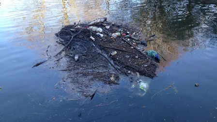 Oil (and rubbish) on the River Lea at Homerton Bridge. Picture: Rose Keyes