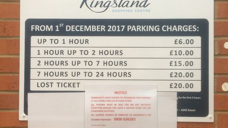 A sign in Dalson Kingsland Shopping Centre Sainsbury's telling customers free parking has been resci