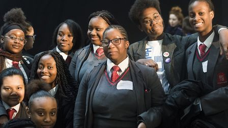 Dr Ronx talks to young women from Mossbourne Community Academy, as part of Hackney Council's �inspir