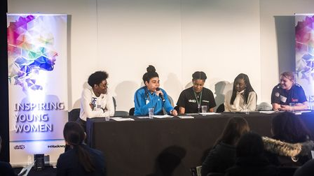 Footballer Renee Hector speaks on the panel for Hackney Council's �inspiring young women day�. Pictu