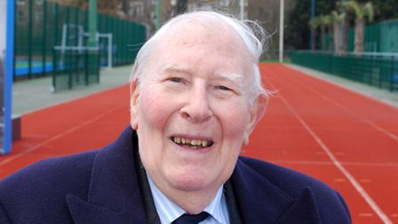 Sir Roger Bannister at the launch of Westminster Mile at Paddington Rec running track. Picture: Poll