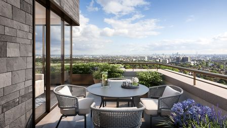 Terraces and balconies give impressive views over London. Picture: Linton Group