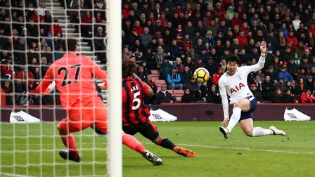 Tottenham Hotspur's Heung-min Son scores his first goal of the game against AFC Bournemouth (pic: Jo