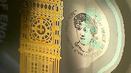 A picture of the engraving of Jane Austen on a £5 note. Picture: Graham Short