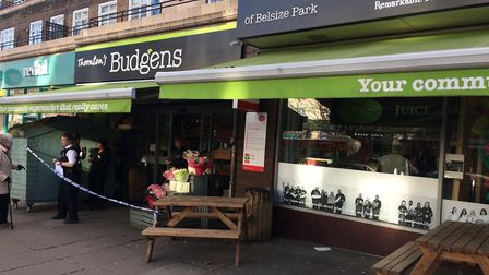 Staff at a Belsize Park supermarket tackled a would-be robber this afternoon.