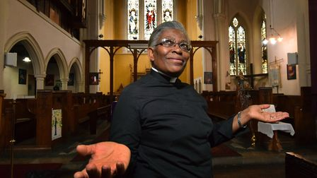 Rev Rosemia Brown inside St James the Great Church Lower Clapton. Picture: Polly Hancock