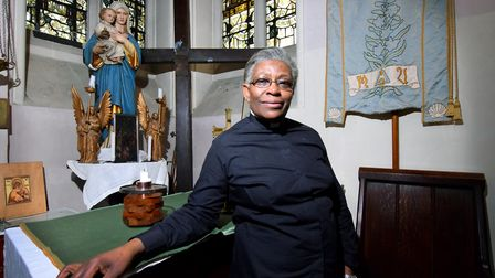 Rev Rosemia Brown inside St James the Great Church Lower Clapton.