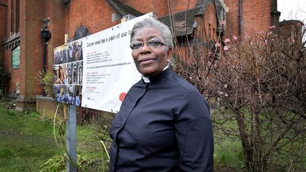 Rev Rosemia Brown outside St James the Great in Lower Clapton Road. Picture: Polly Hancock