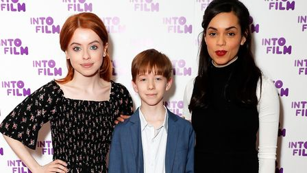 Actresses Rosie Day and Georgina Campbell with prizewinner Jude. Picture: GETTY IMAGES FOR INTO FILM