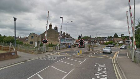 The rail barriers on Victoria Road in Oulton Broad are stuck down. Picture: Google