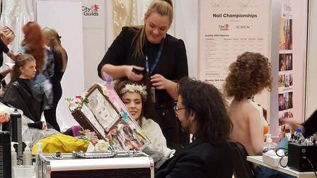 Students from East Coast College competing in the Warpaint Make-up Championships. Picture: Jodie Che