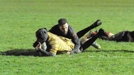 Mert Zabci scores a try for UCS Old Boys at Saracens Amateurs (pic: Nick Cook)