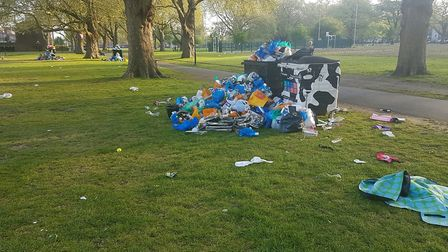Rubbish left on London Fields during the summer in 2016. Picture: Hackney Council