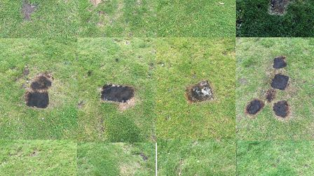 Burnt grass courtesy of barbecues on London Fields.