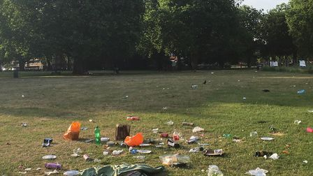The mess left on London Fields after one weekend in summer 2016.