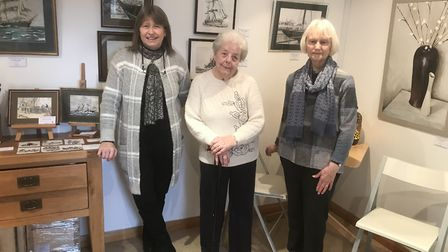 Michaela Barber, of the Ferini Art Gallery, with June Nice and Christine Mason, chairman of the Pake