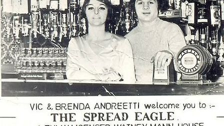 Vic and Brenda's business card from The Spread Eagle pub.