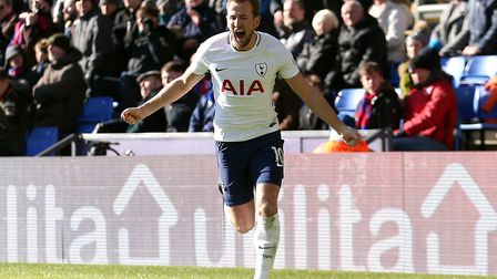 Tottenham Hotspur's Harry Kane celebrates scoring the games first and only goal during the Premier L