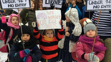 The protest was organsied to coincide with World Book Day. Picture: JON KING