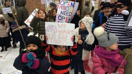 Children and their parents outside East Finchley Library to protest against Barnet Council's changes