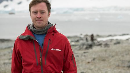 Will McCallum in the Antarctic Peninsula. Greenpeace is conducting scientific research and document