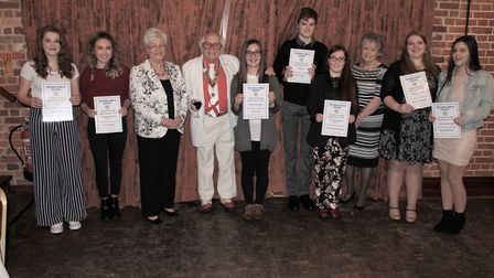 The Michael Marriott Rotary Youth Awards 2018 are presented. Pictured are the successful students wi