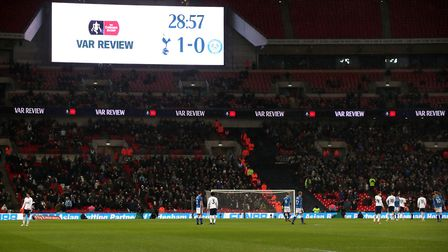 The LED Screen alerts the crowd to a VAR Review during the FA Cup, fifth round replay match at Wembl